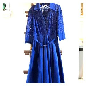 Royal Blue A-line with laces sleeves